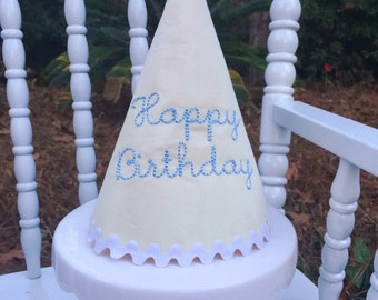 Yellow Pique Happy Birthday Hat
