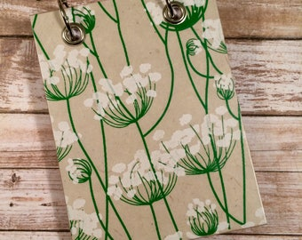 Recycled  Notebook - Handmade Journal - Queen Anne's Lace - Large Notepad - Refillable Notepad -  Plant Notebook