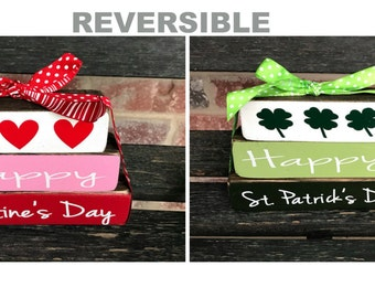 "Reversible Happy  Valentine's & St. Patrick's Day"" MINI"" stacker blocks"
