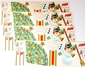 Vintage Christmas Ornaments, Post Cereal Advertising Premium, Christmas Crafts for Kids, Paper Snowman Decoration, Vintage Paper Kids Crafts