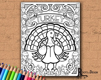 INSTANT DOWNLOAD Turkey Coloring Coloring Page Print, doodle art, printable