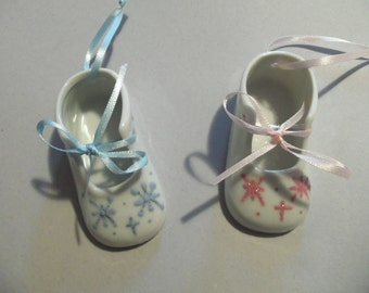 Hand Painted Personalized Baby's First Christmas Shoe Ornament