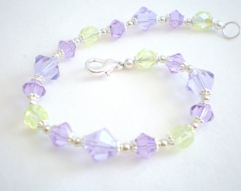 Spring Bracelet, Violet and Green Bracelet, Spring Jewelry, One-of-a-kind Bracelet, Women's Bracelet, Alexandrite Glass Beads