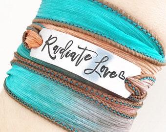 Radiate Love, Inspirational Quotes Jewelry, Wrap Bracelet, Love Jewelry, Love Bracelet, Christian Jewelry, Boho Bracelet, Boho Jewelry