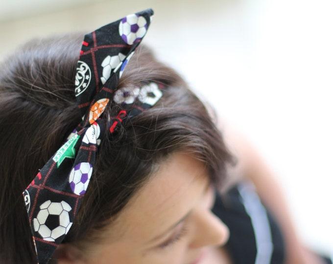 Headband Soccer Dolly Bow Wire Headband Football Sports Rockabilly Pin Up Hair 40s 50s Flexible Bendable Accessory for Teens Women Girls
