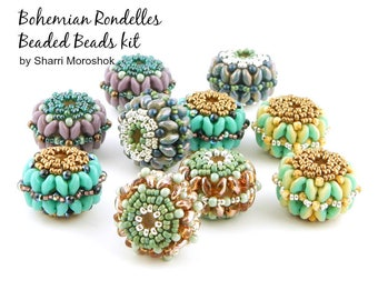 """Beaded Beads Kit - """"Bohemian Rondelles"""" - 10 beaded beads - includes instructions and materials"""
