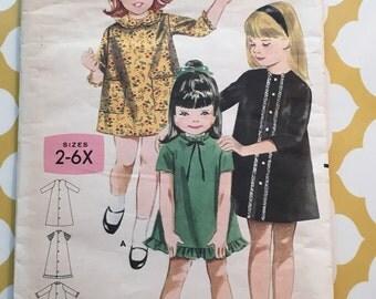 RARE 1960's Butterick Sewing Pattern 3310 Girls A Line Dress Size 6 cut-girls dress pattern, size 6 girls dress pattern, 1960s dress