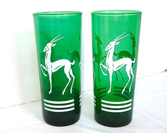 1950s Barware, Gazelle Glasses, Green, Vintage, Anchor Hocking, Set of 2