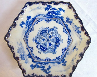 Antique Chinese Blue Export Dish Hand Painted Bowl Water Scene Pagodas 1800s