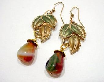 Leaf Drop Earrings, Leaf Statement Earrings, Statement Dangle Earrings, Nature Inspired Earrings, Stone Dangle Earrings, Agate Earrings