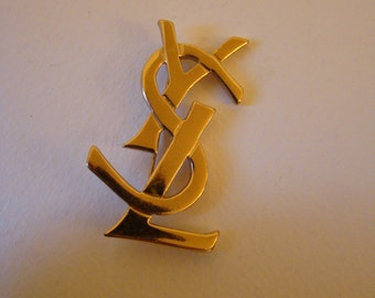 YSL Yves Saint Laurent Initials iconic brooch