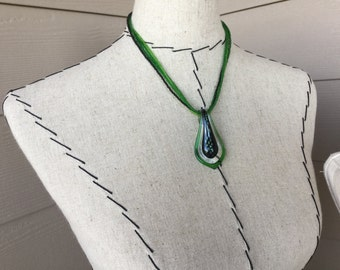 SALE- Green Glass Teardrop Necklace
