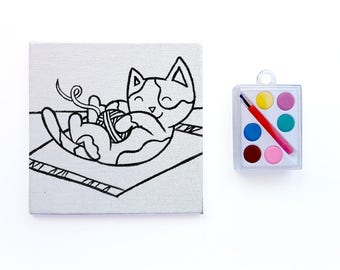 Kitten Playing with Yarn - Paint Your Own Canvas - Cat Paint Party