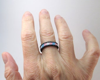 Transgender Pride Ring, Skinny Peyote Ring, Gay Pride Bead Ring, Transpride Jewelry, LoveisLove LGBT LGBTQ