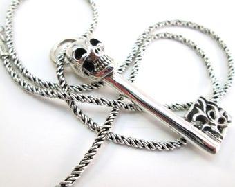 Sterling silver skeleton key pendant necklace, skull key on sterling rope chain, 925 solid sterling, goth halloween cinco de mayo men women