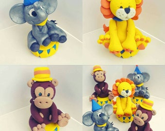 Circus Cake Topper Tigers Lions Bears oh My Clowns Monkey Personalized Custom Handmade Birthday Cake Keepsake or Ornament 1st Birthday Party