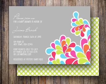 Modern Flourish Baby Shower Invitation, Modern Flourish Baby Shower Invite, Printable Flourish Baby Shower Invitation in Bold Colors