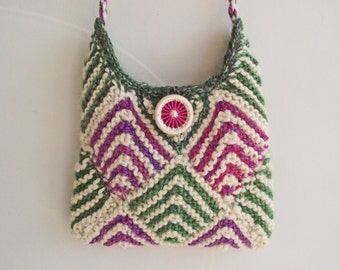 Knit Lined Bag, Pink Green Cream Bag, Small Crossbody Purse, Handmade Dorset Button, Handspun Boho Knitted Bag, Festival Purse, Cord Strap