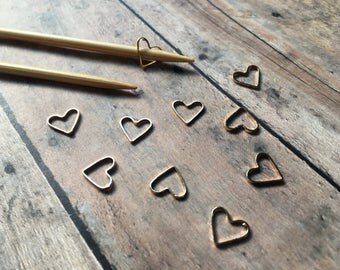 Bronze Stitch Markers - Set of 10 hearts for your knitting bag