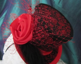 Black and Red, Steampunk, Gothic, Halloween-ish Mini Top Hat