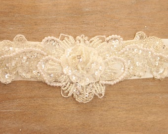 Ivory wedding sash, maternity sash, beaded sash, ivory ribbon - *Trixie*