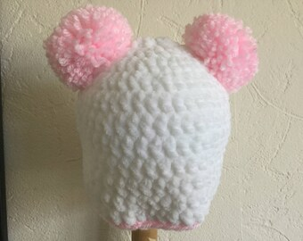 White  and Pink Crochet Double Pom Pom Hat