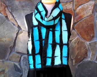 Shades of turquoise and aqua line design, Nuno felt scarf