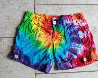 Tie dye Roxy Shorts Size 3 Upcycled