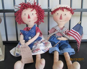 Primitive Patriotic Raggedy Ann and Andy Set