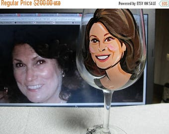 ON SALE FOUR Portrait Wine Glasses Cartoon Caricature Hand Painted Caricature Personalized Glasses
