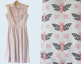 1950s Moth Print Dress size XS