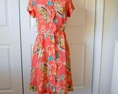 ON SALE..........Vintage 50's coral pink with Asian styled print day Dress