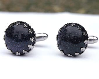 Galaxy Cufflinks - Blue Goldstone