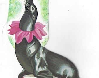Vintage Seal Balancing Ball on Nose Circus Performer Die Cut Decoration, C1950s
