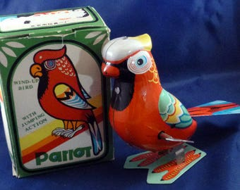 Vintage Jumping Parrot Lithograph Tin Wind Up Toy, 1960s