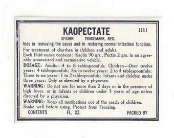 Vintage Pharmacy Medicine Label UpJohn Kaopectate, 1930s