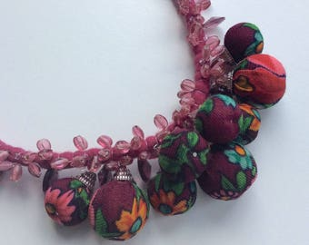 Burgundy necklace - Felt necklace - Handmade necklace - OOAK necklace - Felt necklace  with vintage fabric - necklace with beads
