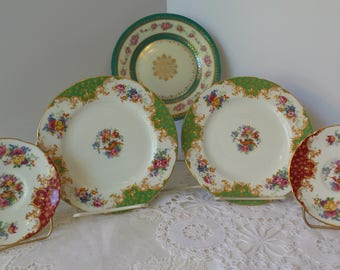 Vintage FLORAL PLATE SET, China Plate Set, Vintage Paragon Plate, Mismatched Plate Collection, Porcelain Plate, Collage Wall Art