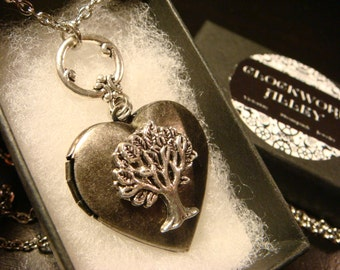 Tree of Life Heart Locket Necklace in Antique Silver (2284)