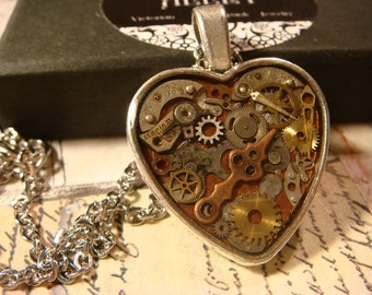 Clockwork Heart with Vintage Watch Parts Steampunk Style Necklace (2376)