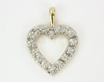 14K Vintage Two Toned Pendant, Buttercup Diamond Heart Pendant, Diamond Heart Pendant, Heart Necklace,Gold Heart,Diamond Heart, Anniversary
