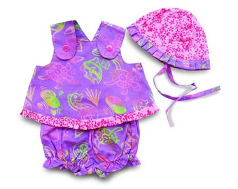 Ruffle Top Bloomer Set, Baby Girl Dress Set, Purple Ruffle Dress Baby, Gift Set Baby Girl, Rainbow Seahorse