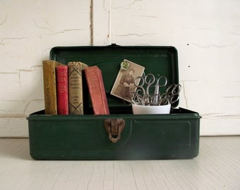 Vintage Tackle Box , Utility Chest , Green Metal Tool Box , Metal Storage Box , Cabin Decor Industrial Chic , Vintage Vignette