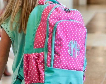 Pink Polka Dottie Backpack with Mint Green Trim