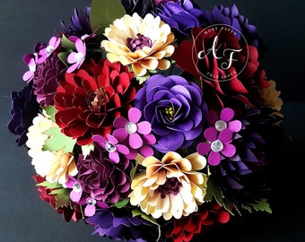 Paper Bouquet - Paper Flower Bouquet - Wedding Bouquet - Shades of Purple and Red - Custom Made - Any Color