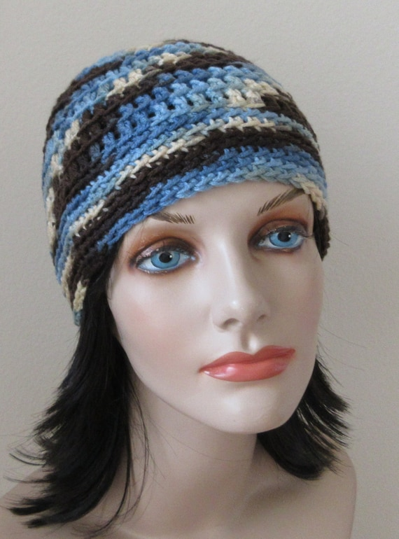Beanie Brown Beanie Blue Beanie Cold Weather Accessory Crocheted Beanie Snow Playing Ice Skating Hockey Mom