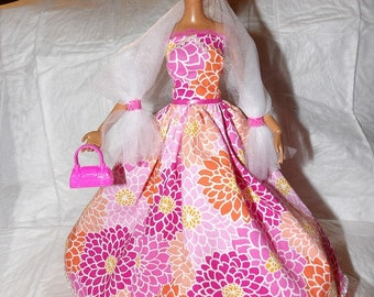 Pink, purple, orange floral formal trimmed in lace & beads with shall for Fashion Dolls - ed922