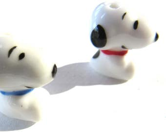 Snoopy Dog Hand Painted Ceramic Beads/ 2