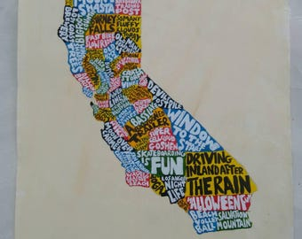 CA Map - hand painted