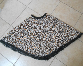 Vintage 1970s young girl's corduroy leopard fringe full-circle skirt, size XXS